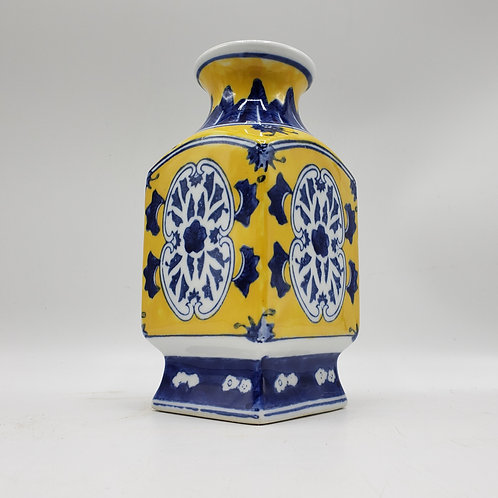 Yellow & Blue Asian Porcelain Vase