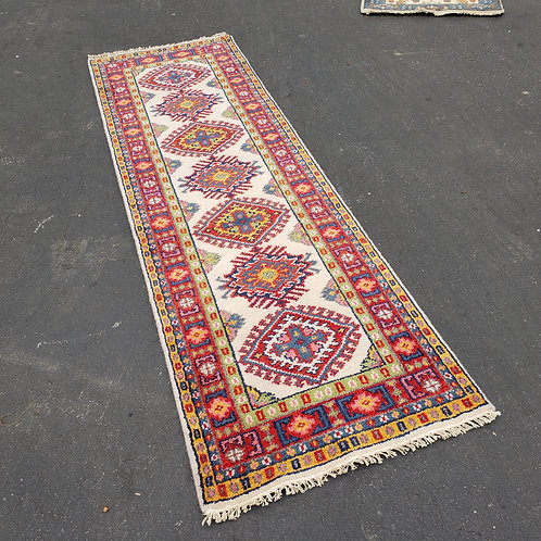 "Hand Knotted Wool Red, Green & Yellow Runner Rug ~ 2' 5"" x 8'"