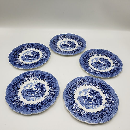 Set of 5 Blue & White Ironstone Plates