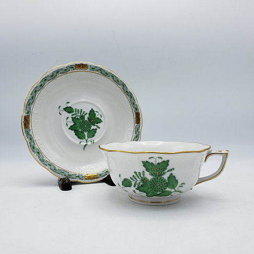 Herend Chinese Bouquet Green Cup and Saucer