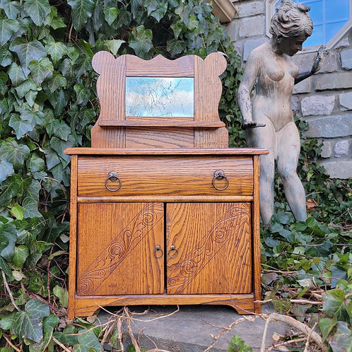 Miniature Carved Oak Chest with Mirror