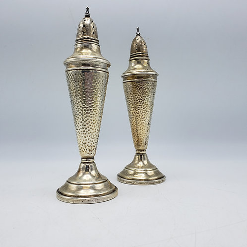 Pair of Tall Hammered Sterling Silver Salt & Pepper Shakers