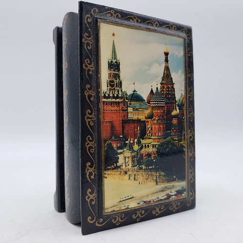 Small Black Lacquered Russian Hinged Box of Moscow