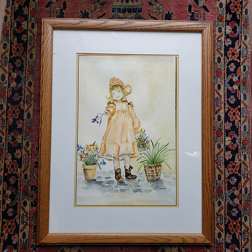 Vintage Signed Watercolor Painting of Young Girl in Yellow Dress  with Flowers