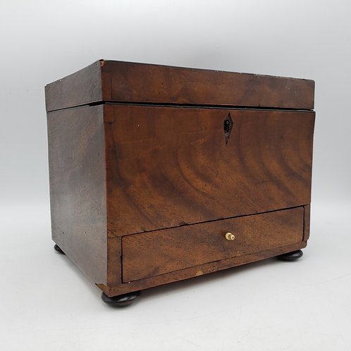 Antique Wooden Jewelry Box with Drawer