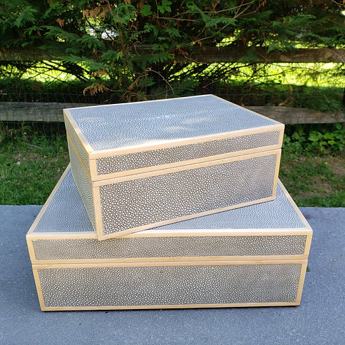 2-Piece Set Made Goods Cooper Realistic Faux Shagreen Boxes