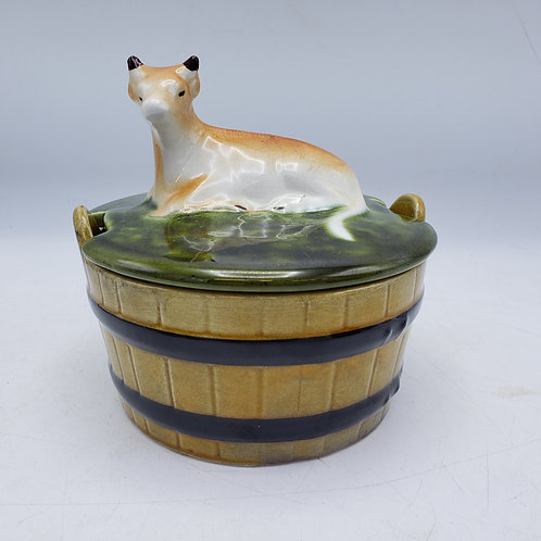 """Vintage Majolica Butter Dish with Cow Finial - Portugal ~ 5"""""""