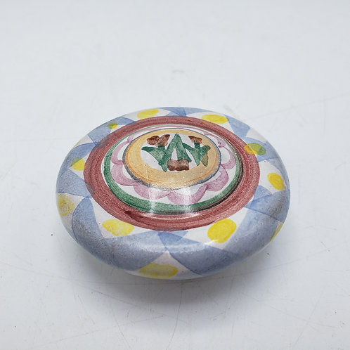 Hand painted MacKenzie Childs Porcelain Knob Blue & Yellow Check 2002