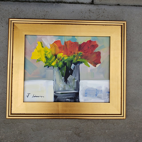 Beautiful Painting of Flower in Gold Frame