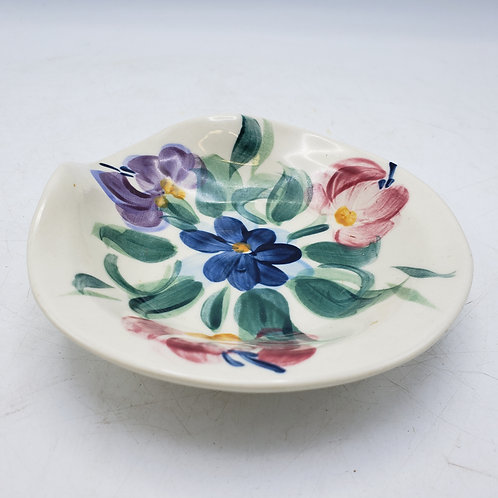Small Signed Handpainted Art Pottery Dish with Flowers