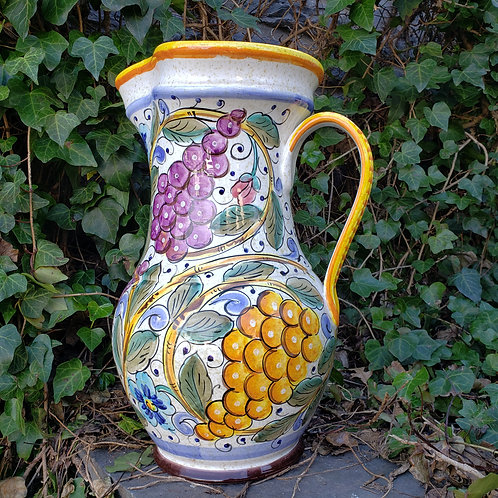 Large Hand Painted & Signed Majolica Pitcher - Grapes