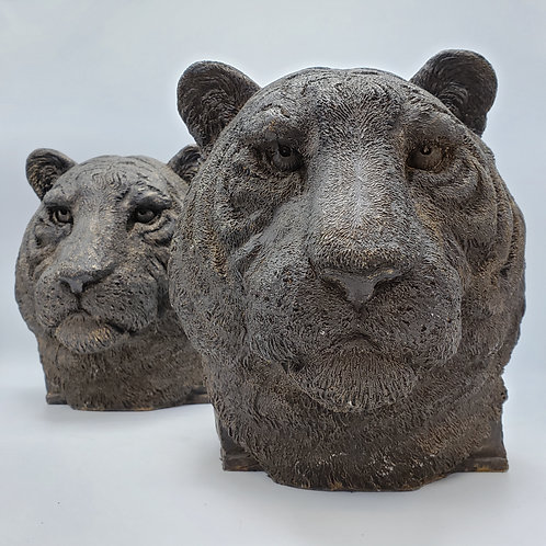 Pair of Austin Products Tiger Head Sculptures