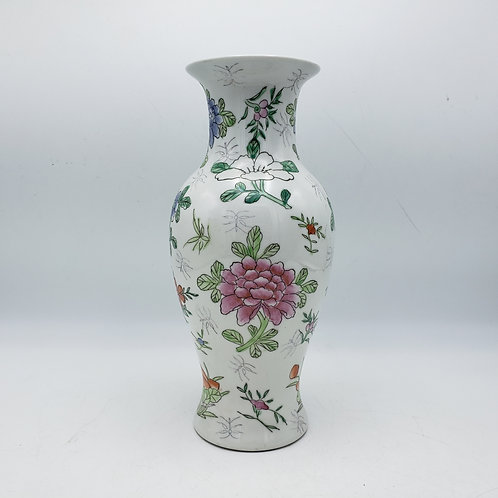Small Japanese White Porcelain Vase with Flowers