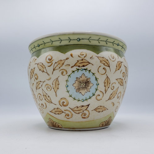 Porcelain Decorator Hedge Wood Cache Pot by Suzanne Nicoll