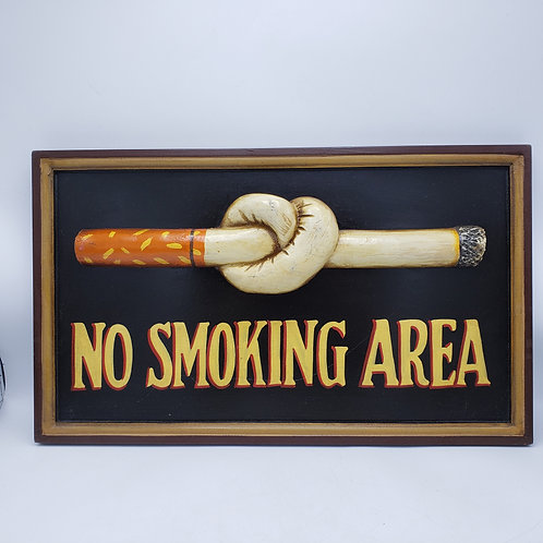 Vintage Style Carved No Smoking Area Sign with Cigarette in Knot