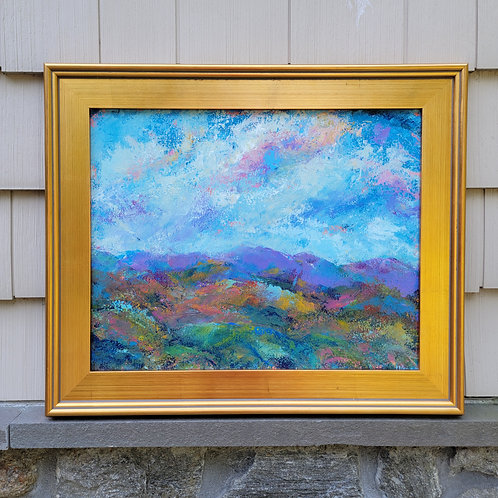Impressionist Plein Air Style Painting on Canvas in Gold Frame
