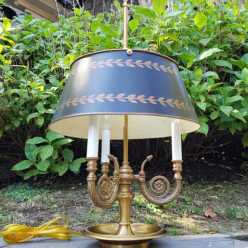 Decorator Bouillotte Lamp - Brass with Hand Painted Shade