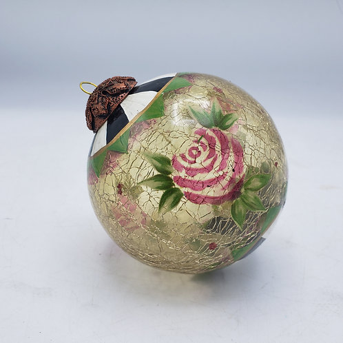 MacKenzie-Childs Glass Ball Ornament with Roses