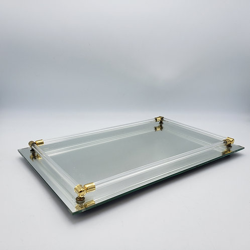 Vintage Mirrored Vanity Tray with Lucite and Brass Accents