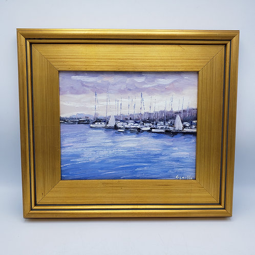 Signed Original Painting on Board of Boats in Harbor in Plein Air Frame