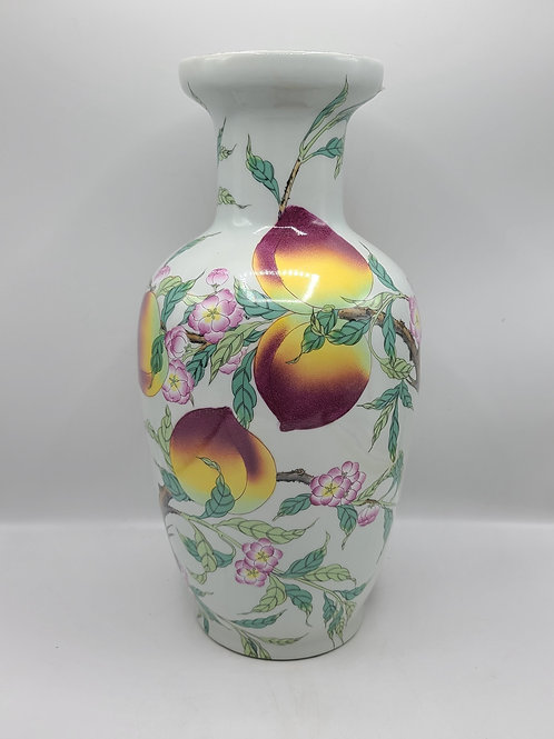 Decorator Asian Vase with Peaches & Flowers