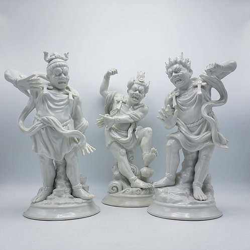 Set of 3 Fitz and Floyd Blanc De Chine Chinese God Figures