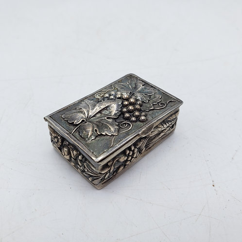 Sterling Silver Pill Box with Leaf & Grapes