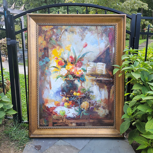 Large Decorator Floral Oil Painting on Canvas
