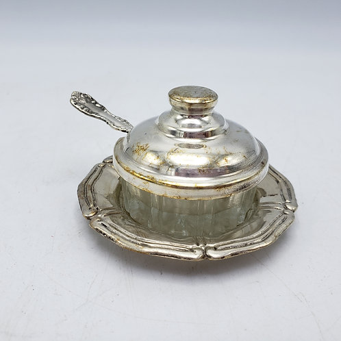 Vintage Lidded Glass Salt with Tray & Sterling Silver Spoon
