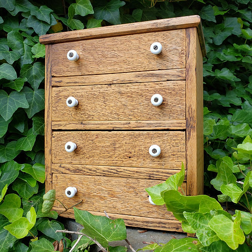 Antique Wooden Miniature Cabinets with Divided Drawers