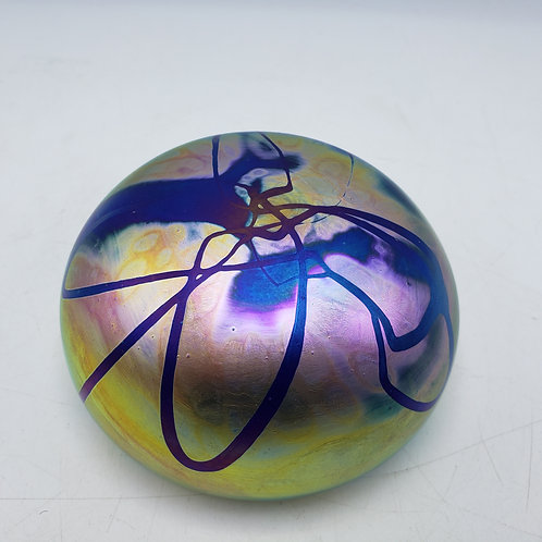 Signed Splatter Iridescent Art Glass Paperweight - Levay Studios, Gary Leva