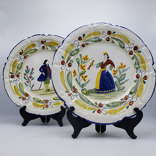 Pair of Decorator Ethan Allen Hand Painted Quimper Style Chargers Made in Italy
