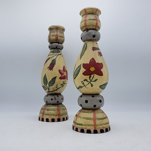Yellow Wooden Handpainted Floral Candlesticks