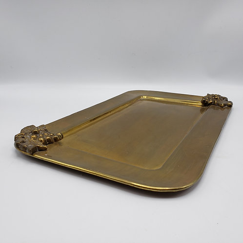 Vintage Decorator Brass Tray with Grape Corners