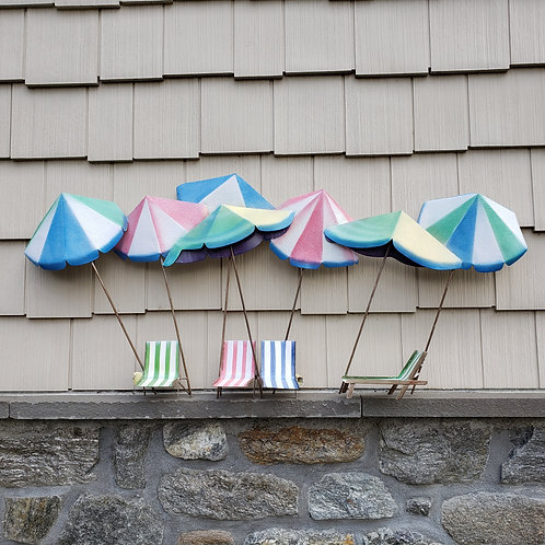 Painted Metal 3-D Beach Wall Hanging