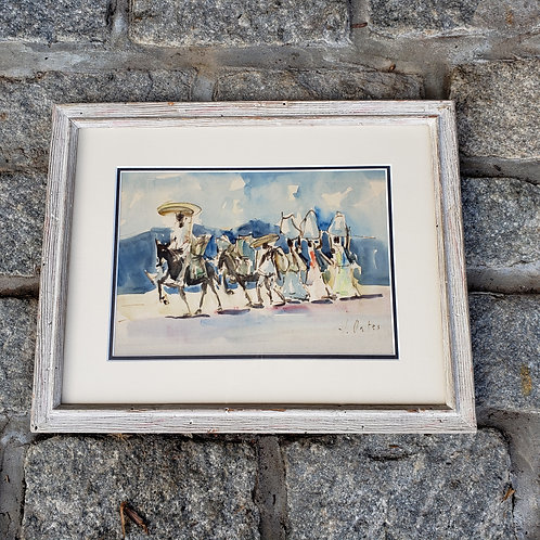 Signed J. Oates Taxco Mexico Horse Watercolor Artwork Framed and Matted