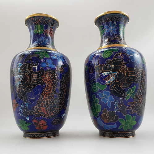 Pair of Blue Floral Cloisonne Vases