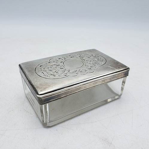 Vintage Rectangular Glass Vanity Box with Silverplate Lid with Holes