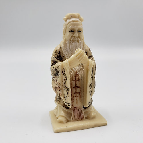 Vintage Faux Ivory (Resin) Carved Netsuke Wise Man
