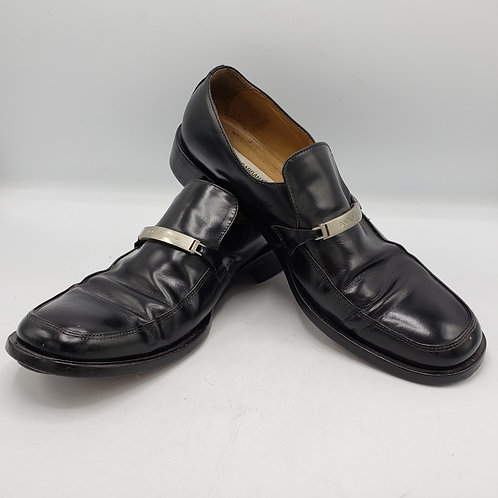 Dolce & Gabbana Black Leather with Silver Bar Loafers