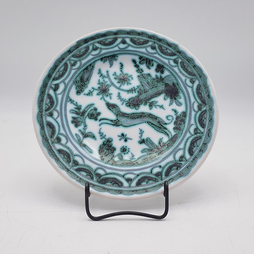 Small Porcelain Green Dish with Animal
