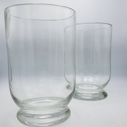 Pair of Large Hand Blown Glass Hurricanes for Candles