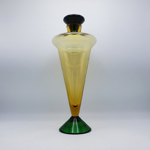 Art Glass Decanter / Vase with Stopper - Green and Yellow