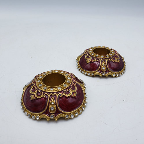 Burgundy Candle Holders with Austrian Crystals & Enamel by Two's Company