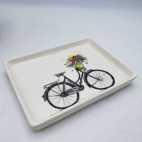 Rae Dunn Magenta Bicycle Dish with Basket of Flowers