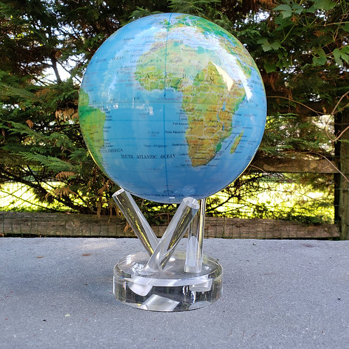 """Large Mova Globe Blue Relief Map on Lucite Base ~ 6"""""""