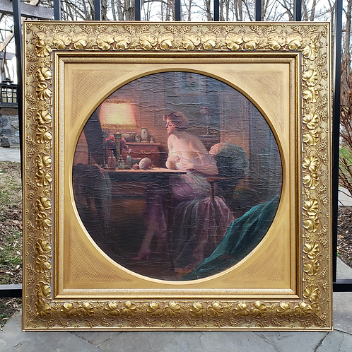 Signed Vintage Artwork of Woman at Makeup Counter in Gold Gilt Frame
