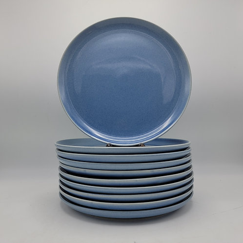 Set of 10 Blue Russel Wright Dinner Plates by Oneida