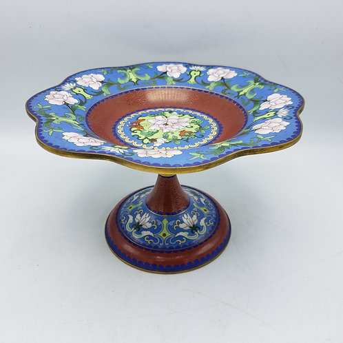 Vintage Chinese Cloisonné Footed Fruit Dish