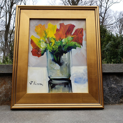 Beautiful Painting of Flower in Gold Frame Vertical View